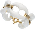 Estate Jewelry:Bracelets, White Agate, Diamond, Gold Bracelet . ...