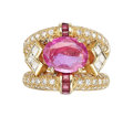 Estate Jewelry:Rings, Ceylon Pink Sapphire, Diamond, Ruby, Gold Ring . ...