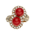 Estate Jewelry:Rings, Coral, Diamond, Gold Ring The ring features co...