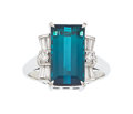 Estate Jewelry:Rings, Indicolite Tourmaline, Diamond, Platinum Ring. ...