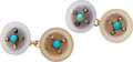 Estate Jewelry:Cufflinks, Diamond, Multi-Stone, Gold Cuff Links. ...