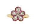 Estate Jewelry:Rings, Diamond, Ruby Gold Ring The ring features Euro...