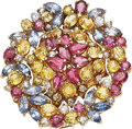 Estate Jewelry:Brooches - Pins, Ruby, Sapphire, Diamond, Gold Pendant-Brooch. ...