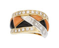 Estate Jewelry:Rings, Diamond, Coral, Black Onyx, Platinum, Gold Ring. ...