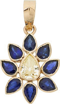Estate Jewelry:Pendants and Lockets, Diamond, Sapphire, Gold Pendant. ...