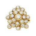 Estate Jewelry:Rings, Diamond, Gold Ring The cluster ring features f...