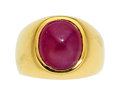 Estate Jewelry:Rings, Gentleman's Ruby, Gold Ring, Gary Ewing . ...