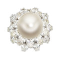 Estate Jewelry:Rings, South Sea Cultured Pearl, Diamond, Platinum Ring, Ruser, Retailedby Laykin et Cie. ...