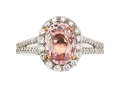 Estate Jewelry:Rings, Padparadscha Sapphire, Diamond, Platinum, Rose Gold Ring. ...