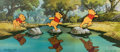 Animation Art:Production Cel, Pooh's Grand Adventure Winnie the Pooh Production Cel Sequence Setup with Master Pan Production Background (Walt Disne...