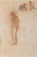 Fine Art - Work on Paper:Drawing, Paul Gauguin (French, 1848-1903). Paysan Breton. Watercolorand sanguine on paper. 10-3/4 x 7 inches (27.3 x 17.8 cm) sh...(Total: 2 Items)