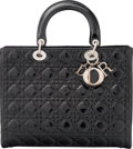 """Luxury Accessories:Accessories, Christian Dior Black Canage Patent Leather Large Lady Dior Bag. Condition: 1. 12.5"""" Width x 10"""" Height x 4.5"""" Depth..."""
