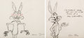 Animation Art:Production Drawing, Wile E. Coyote and Bugs Bunny Animation Drawings Signed by ChuckJones (Warner Brothers, c. 1960s)....