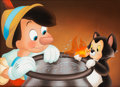 "Animation Art:Production Drawing, The Art of Pinocchio Painting by Don ""Ducky"" Williams (Walt Disney,2000)...."
