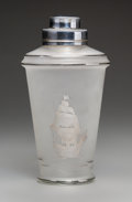 Decorative Arts, American, A Frosted Glass Cocktail Shaker with Sailing Motif. 8-1/2 incheshigh x 4-1/2 inches diameter (21.6 x 11.4 cm). ...