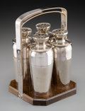 Decorative Arts, American, A Set of Four Napier Silver-Plated Cocktail Shakers with WoodCaddy, Meriden, Connecticut, first half 20th century. Marks: ...(Total: 5 Items)