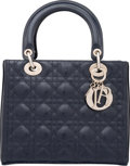 "Luxury Accessories:Accessories, Christian Dior Navy Blue Cannage Calfskin Patent Leather Lady Dior Bag. Condition: 3 . 9.25"" Width x 7.75"" Height x 4...."