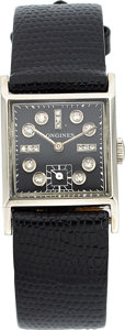 Estate Jewelry:Watches, Retro Longines Diamond, Palladium Watch. ...