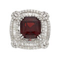 Estate Jewelry:Rings, Diamond, Garnet, White Gold Ring The ring cent...
