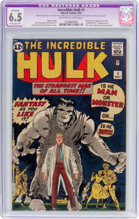The Incredible Hulk #1 (Marvel, 1962) CGC Apparent FN+ 6.5 Extensive (P) Off-white to white pages