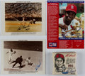 Autographs:Photos, Lou Brock Signed Photograph Lot of 3 with Signed Mini Base.. ...