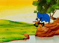 Animation Art:Production Cel, Daffy Duck Production Cel and Painted Background (Warner Brothers,c. 1960s-70s)....
