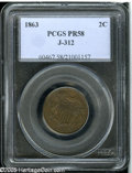 1863 2C Two Cents, Judd-312, Pollock-377, R.4, PR58 PCGS. Similar to the adopted two cent piece of the following year, e...