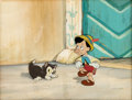 Animation Art:Production Cel, Pinocchio Figaro and Pinocchio Production Cell with Claude Coates Master Background (Walt Disney, 1940)....