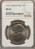 Eisenhower Dollars, (3)1976-D $1 Type Two MS66 NGC. NGC Census: (518/22). PCGS Population: (925/28). CDN: $45 Whsle. Bid for problem-free NGC/P... (Total: 3 item)