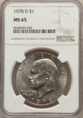Eisenhower Dollars, 1974 $1 MS65 NGC. This lot will also include the following: (3)1978 $1 MS65 NGC; and (4)1978-D $1 MS65 NGC.... (Total: 8 coins)