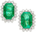 Estate Jewelry:Earrings, Colombian Emerald, Diamond, Platinum Earrings. ...