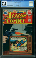 Bronze Age (1970-1979):Superhero, Action Comics #442 (DC, 1974) CGC VF- 7.5 OFF-WHITE TO WHITE pages.