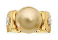 Estate Jewelry:Rings, Gentleman's South Sea Cultured Pearl, Diamond, Gold Ring. ...