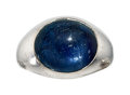 Estate Jewelry:Rings, Gentleman's Sapphire, White Gold Ring. ...