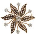 Estate Jewelry:Brooches - Pins, Antique Diamond, Seed Pearl, Gold Pendant-Brooch. ...