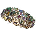 Estate Jewelry:Bracelets, Multi-Stone, Synthetic Sapphire, Diamond, Gold Bracelet. ...