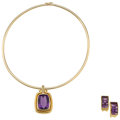 Estate Jewelry:Lots, Amethyst, Diamond, Gold Jewelry . ... (Total: 2 Items)