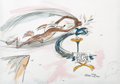 Animation Art:Production Drawing, Chuck Jones - Wile E. Coyote and Road Runner Watercolor Painting(Warner Brothers, 1999)....