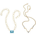 Estate Jewelry:Necklaces, Diamond, Topaz, Gold Necklaces . ... (Total: 2 Items)