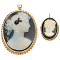 Estate Jewelry:Brooches - Pins, Hardstone Cameo, Gold Pendant-Brooches . ... (Total: 2 Items)