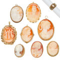 Estate Jewelry:Brooches - Pins, Shell Cameo, Cultured Pearl, Gold Jewelry. ... (Total: 9 Items)