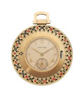 Estate Jewelry:Watches, Longines Gentleman's Enamel, Gold Roulette Wheel Open Face PocketWatch, circa 1940. ...