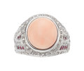 Estate Jewelry:Rings, Coral, Pink Sapphire, Diamond, Gold Ring. ...