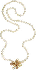 Estate Jewelry:Necklaces, Cultured Pearl, Diamond, Gold Necklace. ...