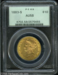 Liberty Eagles: , 1883-S $10 AU58 PCGS. This boldly struck greenish-gold example hasa band of bright luster throughout the borders. Wispy pi...