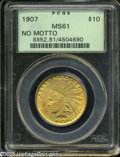 Indian Eagles: , 1907 $10 No Motto MS61 PCGS. A satiny and nicely struck earlyIndian Eagle with original honey-gold color and suitable eye ...