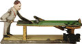"""Antiques:Toys, Vintage German Pool Player Wind-up Toy.. Hand painted tin, 10.75"""" x 6"""", no maker's mark present.. Condition- One foot wi..."""