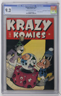 "Golden Age (1938-1955):Funny Animal, Krazy Komics #22 Davis Crippen (""D"" Copy) pedigree (Timely, 1946)CGC NM- 9.2 Cream to off-white pages...."