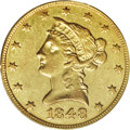 Liberty Eagles: , 1848-O $10 AU53 PCGS. The 1847-O mintage of 571,500 must havesaturated Southern commerce, since in 1848, the New Orleans m...