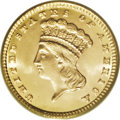 Gold Dollars: , 1881 G$1 MS67 PCGS. This spectacular Superb Gem looks as if it werestruck yesterday. The flashy fields are essentially imm...